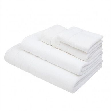 Lanes Border Bath Towel White