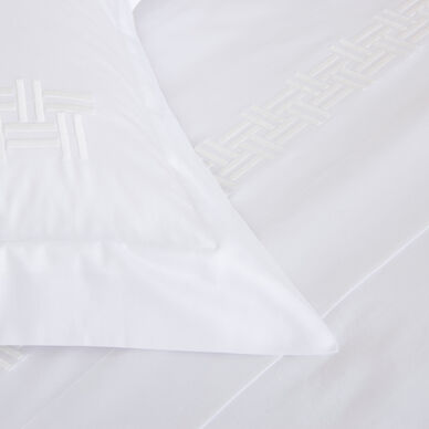 Basket Weave Embroidered Duvet Cover