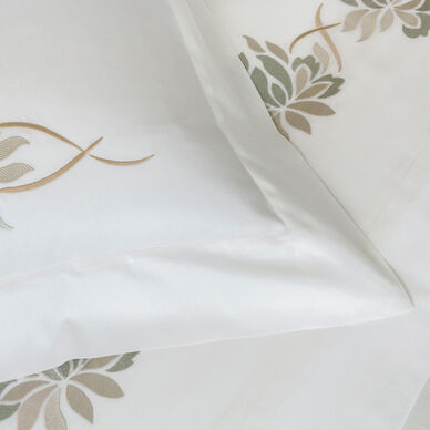 Lotus Flower Embroidered Duvet Cover hover image