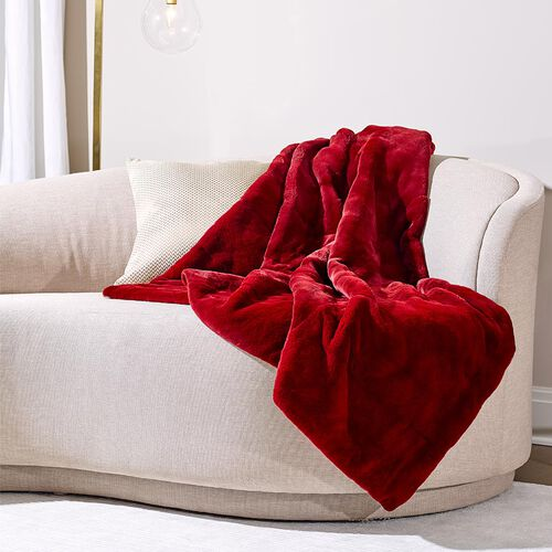 Mink Fur Throw Merlot