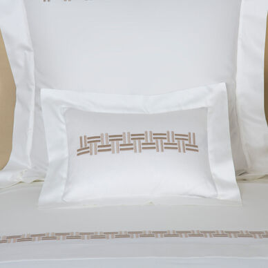 Basket Weave Embroidered Boudoir Sham