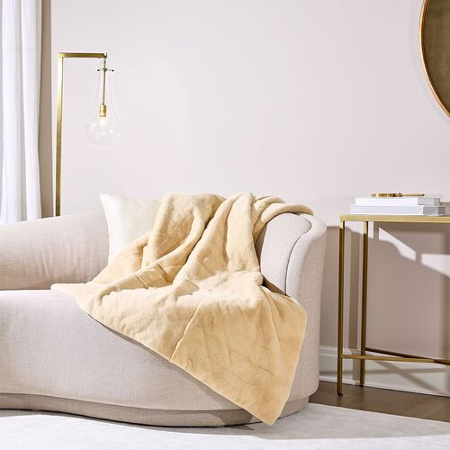 Mink Fur Throw Caffe Latte