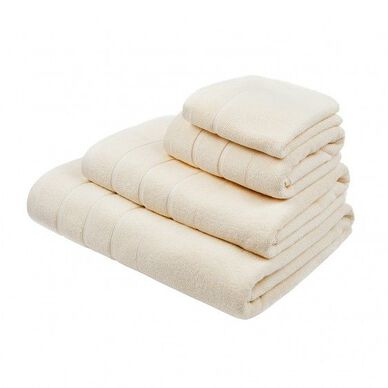 Lanes Border Bath Towel Cream