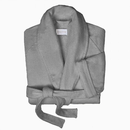 Velour Shawl Collar Robe Grey