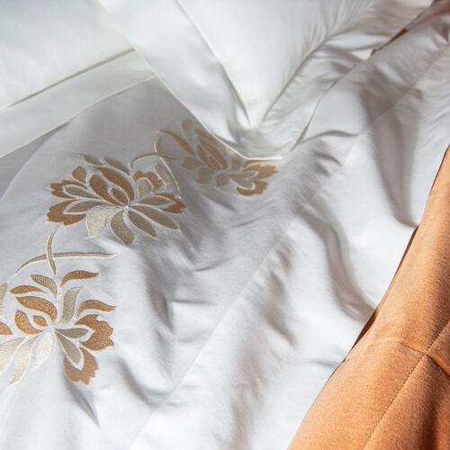 Lotus Flower Embroidered Duvet Cover
