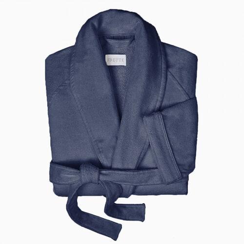 Velour Shawl Collar Robe Navy