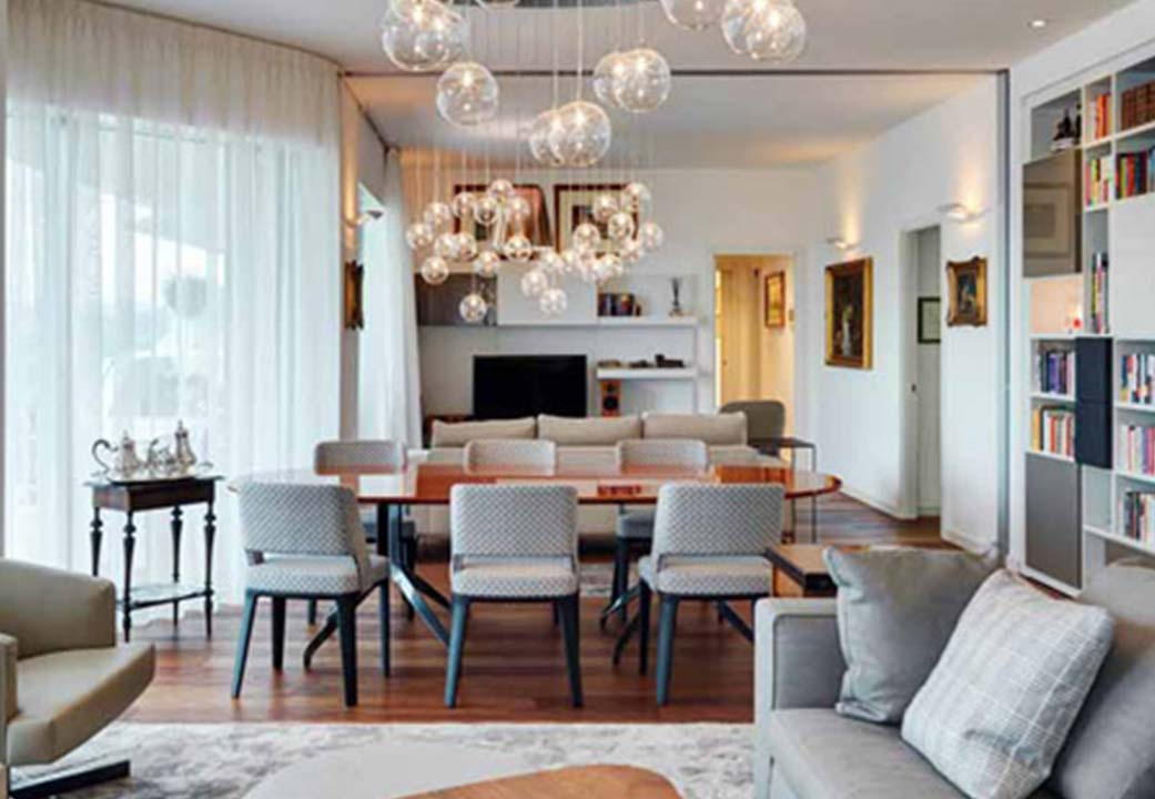 A living room and dining room designed by Marco Piva