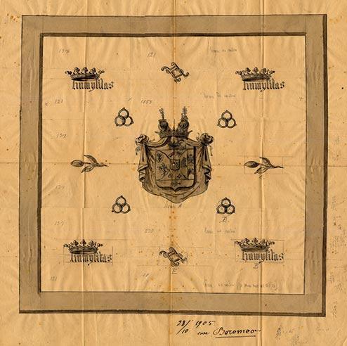 Borromeo Italian Royal Family emblem proof of weave 1905